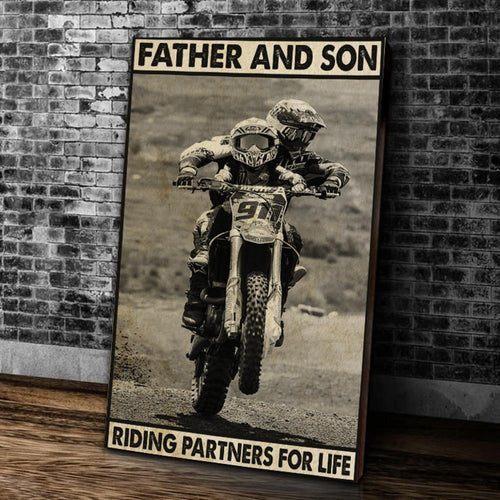 BeKingArt Biker Father And Son Riding Partners For Life