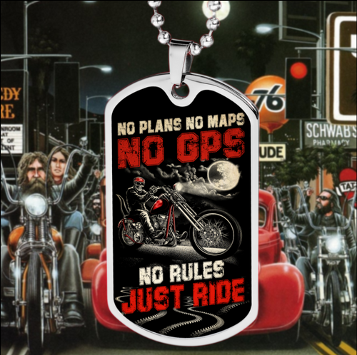 BeKingArt Biker No Plan Map GPS Rule Just Ride