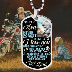 BeKingArt Biker To My Son Never Forget Life Filled With Hard Times
