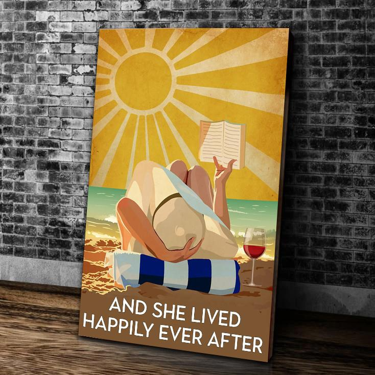 BeKingArt And She Lived Happily Ever After Love Reading Canvas