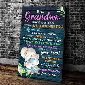 To My Grandson Once Upon A Time There Was A Little Boy Who Stole My Heart, He Called Me Grandma Matte Canvas - ATMTEE