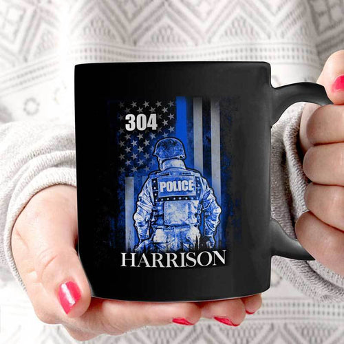 BeKingArt Police Personalized Suit Thin Blue Line Flag Father's Day
