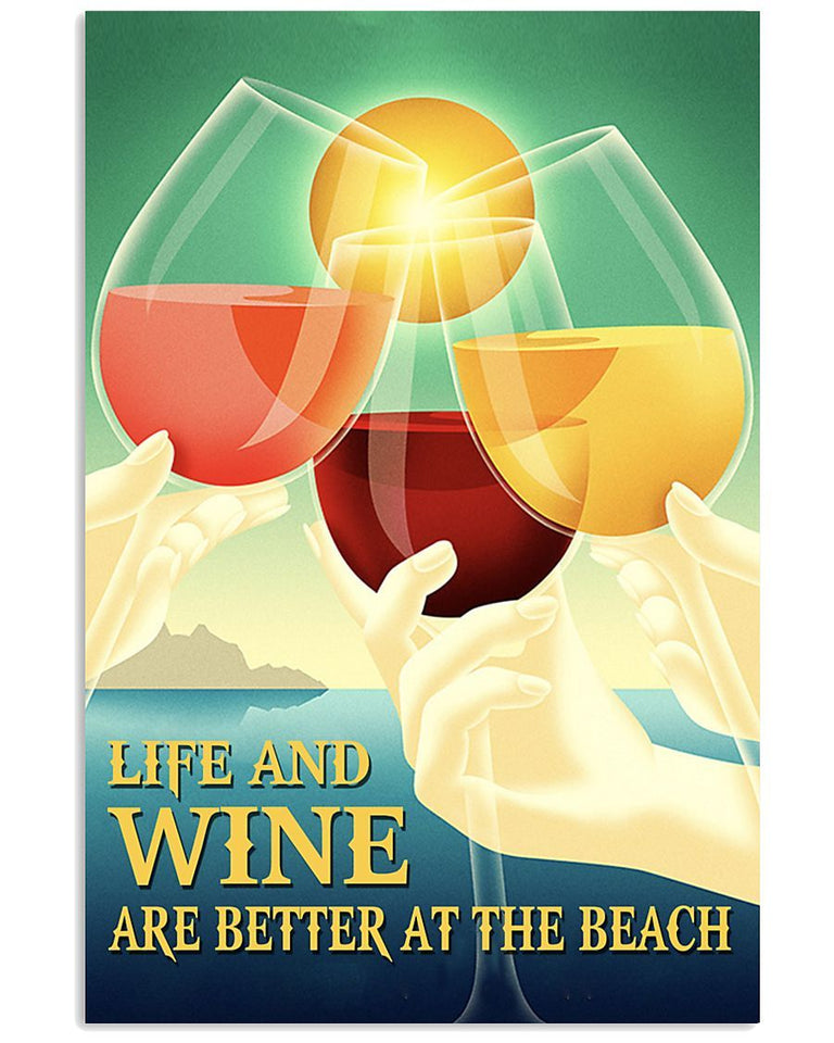 BeKingArt Wine Life And Wine Are Better At The Beach Matte Canvas