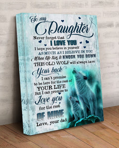 BeKingArt Family To My Daughter Love You For The Rest Of Mine Old Wolf