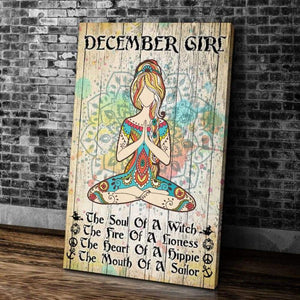 BeKingArt December Girl Yoga The Soul Of A Witch Portrait Matte Canvas