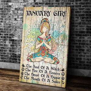 BeKingArt January Girl Yoga The Soul Of A Witch Portrait Matte Canvas