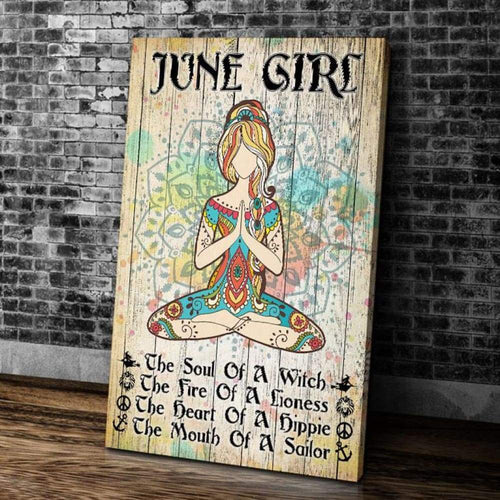 BeKingArt June Girl Yoga The Soul Of A Witch Portrait Matte Canvas