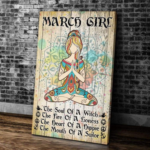 BeKingArt March Girl Yoga The Soul Of A Witch Portrait Matte Canvas