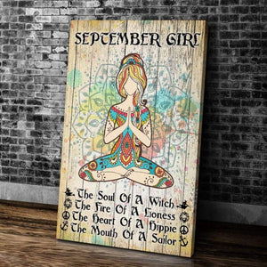 BeKingArt September Girl Yoga The Soul Of A Witch Portrait Matte Canvas