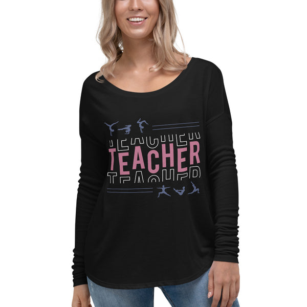 Teacher Black Flowy Long Sleeve