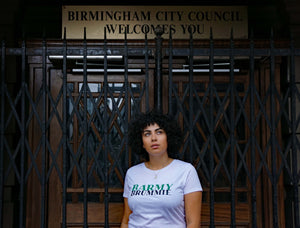 The Barmy Brummie Tshirt in white in Birmingham City centre