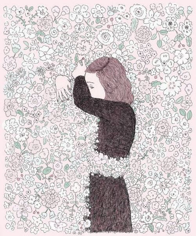 Illustration by maegamimami: Girl in Mourning Hugging Flowers