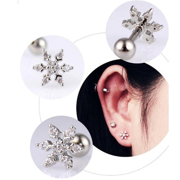 1pc Bar Stainless Steel Flower Zircon Flowers Lip piercing earring