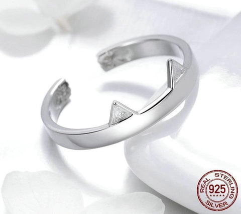 925 Sterling Silver Cute Cat Paw Ears Animal Shape Adjustable Finger Ring