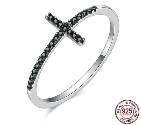 925 Sterling Silver Faith Cross Shape Finger Ring