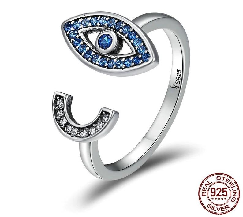 925 Sterling Silver Fascinating Blue Eye Face Clear CZ Open Finger Ring