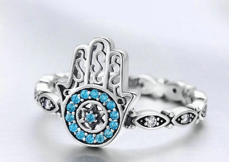 925 Sterling Silver Fatima's Guarding Hand Blue CZ Eyes Finger Ring
