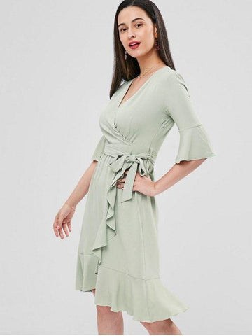 Bell Cuffs Ruffle Midi Faux Wrap Dress