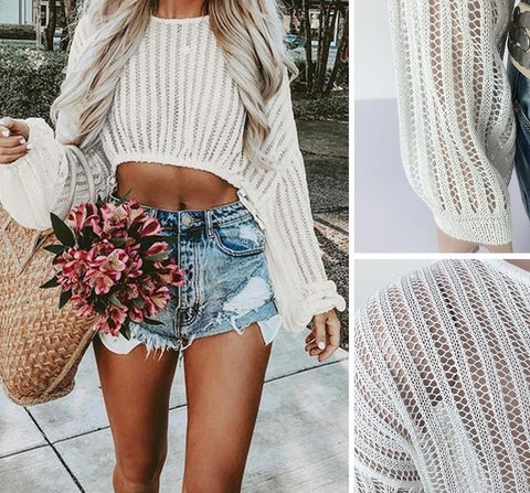 Bohemian hollow out crop tops