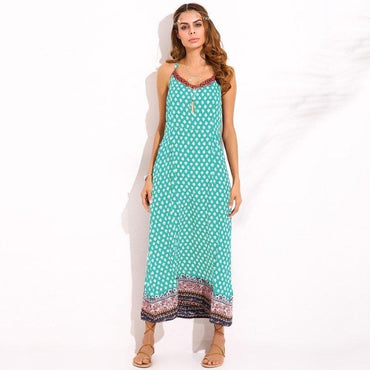 Boho Floral Print V Neck Spaghetti Straps Backless Maxi Long Dress
