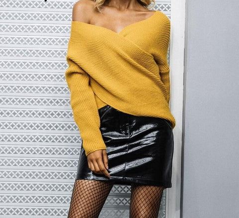 Casual cross v neck knitted sweater