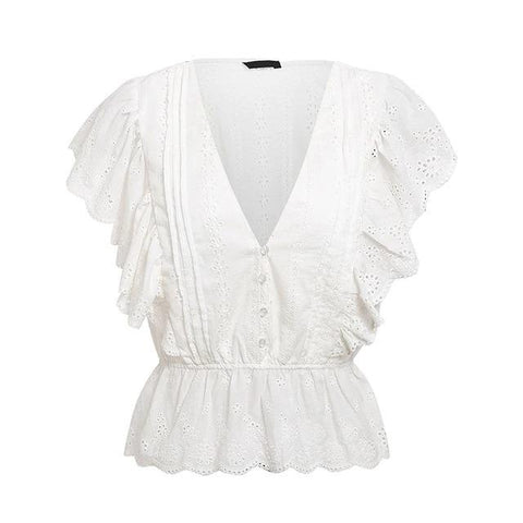 Causal white embroidery lace Butterfly Sleeve blouse shirt