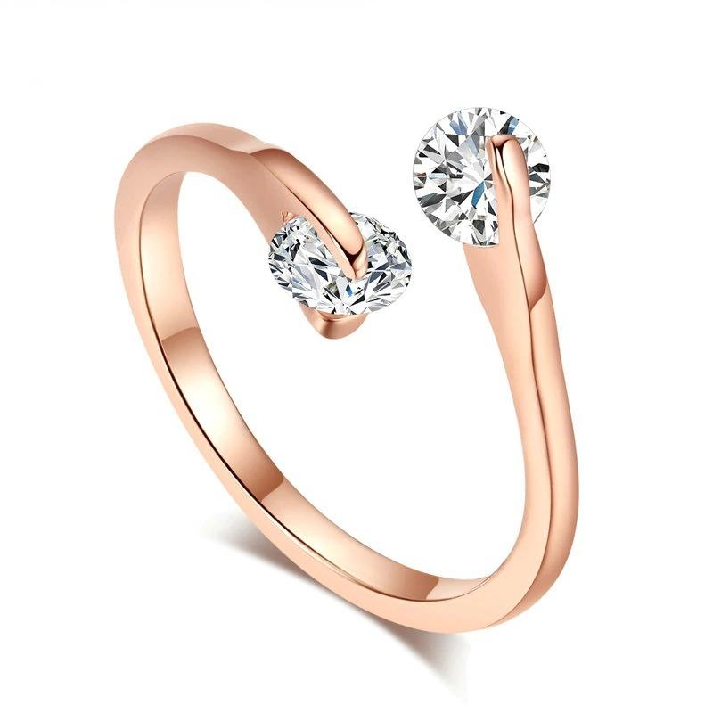 Classic Elegant Twin Cubic Zirconia Rose Gold Color Ring