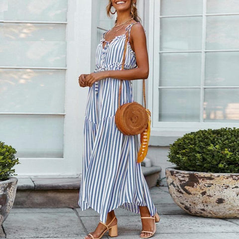 Cotton linen striped midi dress