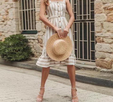 Elegant Bohemian khaki striped dress