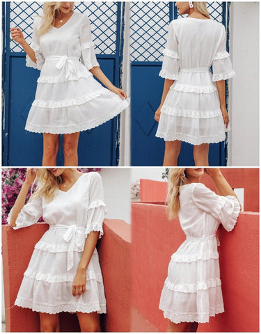 Elegant layered ruffle embroidery cotton dress