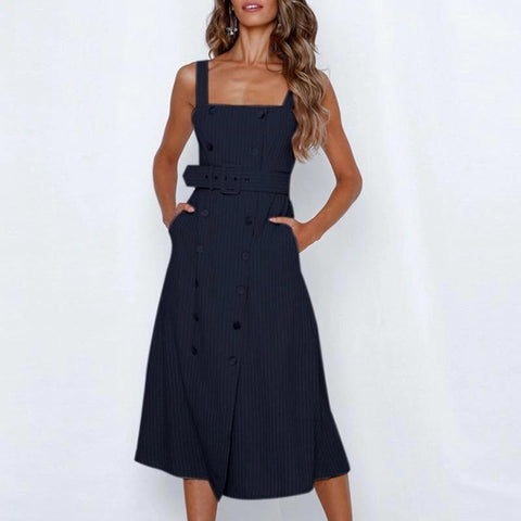 Elegant stripe summer Spaghetti strap sash belt midi dress