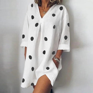 Fashion Polka Dot Sleeve Shirt Mini Dress