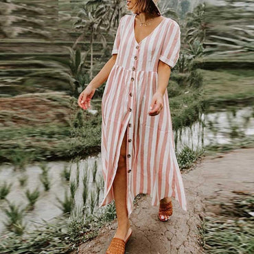 Fashion V neck Striped Shirt Dress