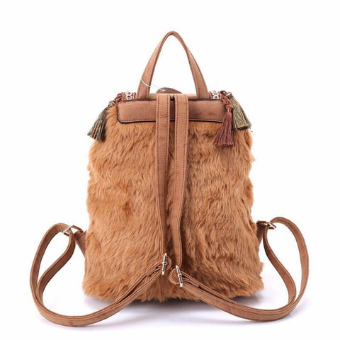Hippie Bohemian style canvas tassel backpack