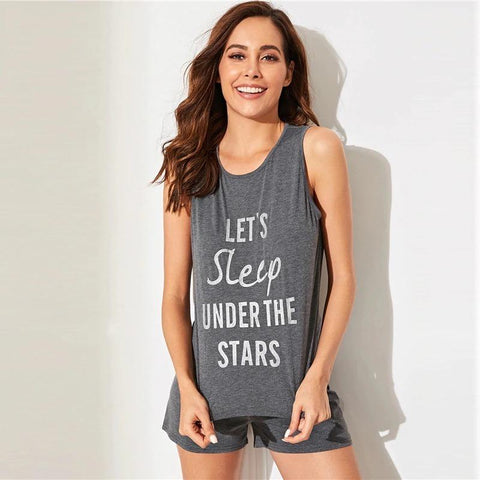 Letter Print Sleeveless Top And Shorts PJ Set