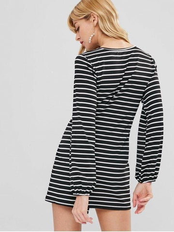 Long Sleeve Striped Tee Dress