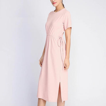 Long T-shirt Sashes Waist Slit Casual O-Neck Loose  Dress