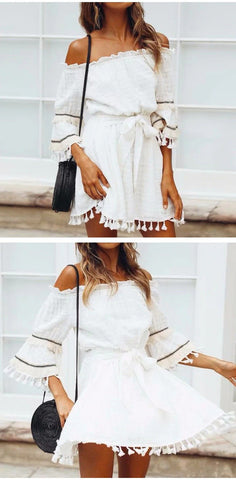 Off Shoulder Sexy Vintage Patchwork Dress