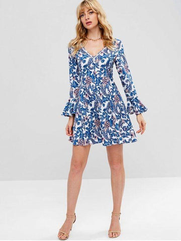 Paisley Long Sleeve Skater Dress