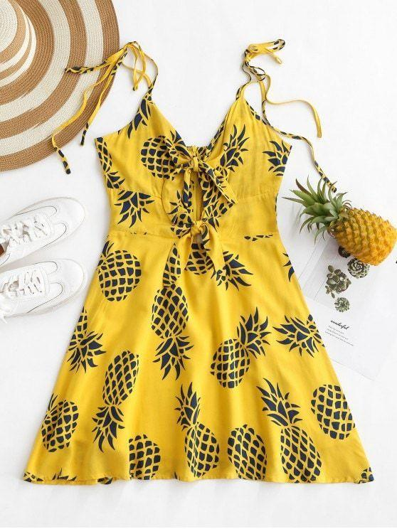 Pineapple Print Knotted Cami Dress