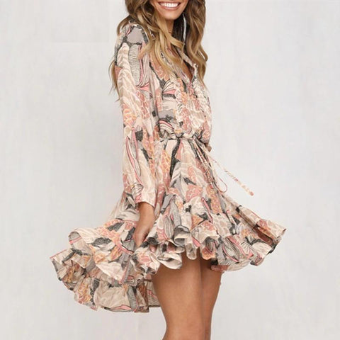 Pleated ruffle Floral print long sleeve chiffon dress