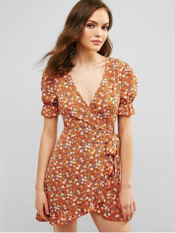 Plunge Surplice Printed Flounce Dress