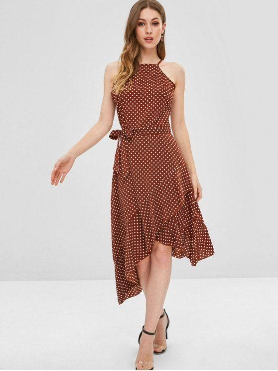 Polka Dot Belted Asymmetrical Ruffle Dress