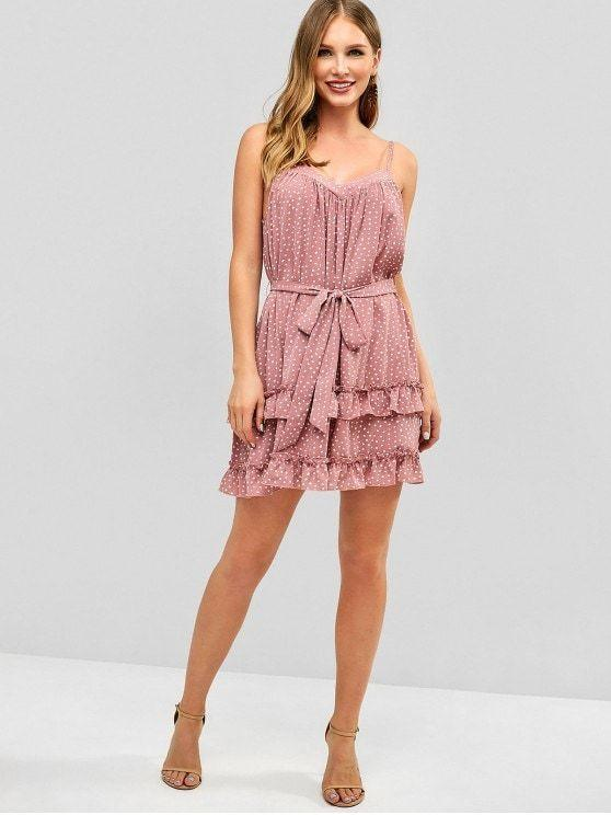Printed Ruffles Belted Cami Dress