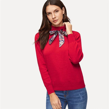 Red Tie Neck Knitted Sweater