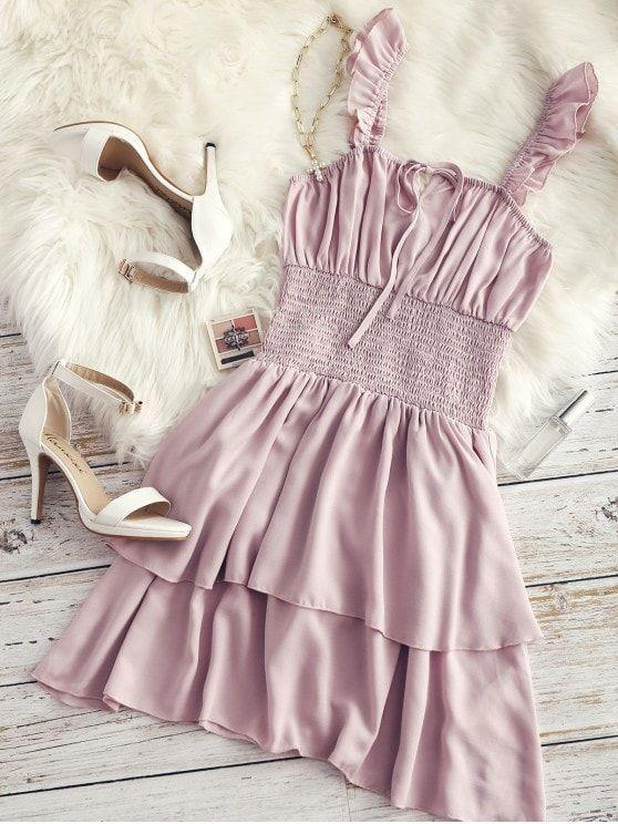 Ruffle Shirred Cami Dress