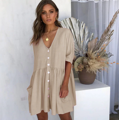 Casual Loose Button Shirt Solid Half Sleeve Pockets Sexy V-Neck Mini Dresses