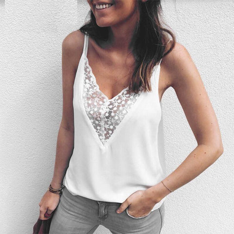 Sexy chiffon lace embroidery cami top