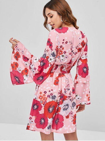 Shirred Floral Bell Sleeve Dress