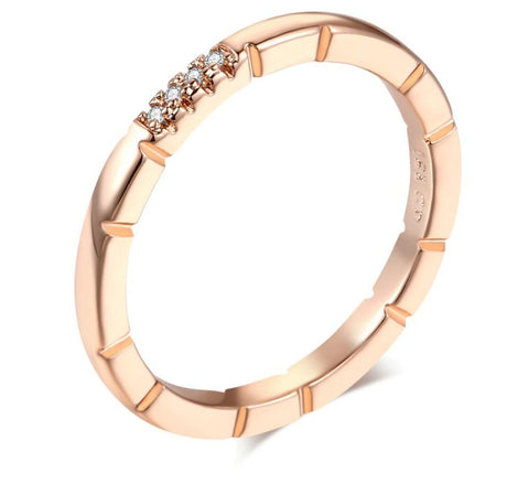 Simple Style Micro-inserts Cubic Zirconia RoseGold Color Ring